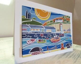 Seaside greeting card harbour card decoupaged card