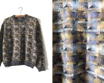 CUBIST Style Contrast Trim Sweater - Boxy fit Abstract 90s Minimalist Felted Vintage Jumper - Mens Small