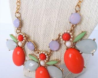Coral Bib Necklace, Floral Bib Necklace, Floral Bib, Bib Necklace, Periwinkle, Mint, Gold Accents,