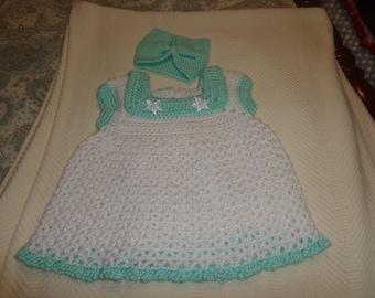 Crochet Princess dress with turban headband-white with aqua trim-0-3 months