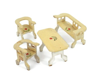 Vintage Doll Furniture Micro Miniature Hand Painted Farm Table Bench and Chairs Creamy White with Red Flowers