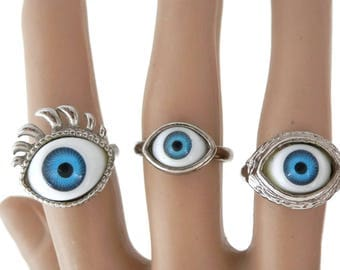 Lot 3 Eyeball Rings Graduated Sizes Silver Metal with Adjustable Bands  Evil Eye Vintage 80's Jersey Shore Boardwalk