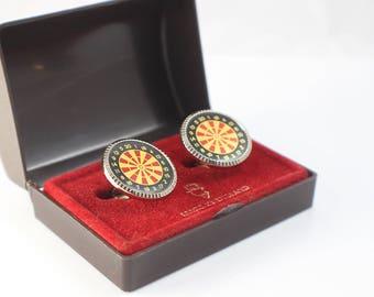 1980s Novelty Dartboard Dart Board Cufflinks Cuff Links Gold Tone Metal with Enamel Top