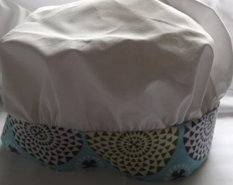 """Child's Chef Hat in Kona White Fabric Measures 25-3/4"""" Long Band is 2-1/4 Inches Greens, White and Blues, Triangles  HS Confection Fabric"""
