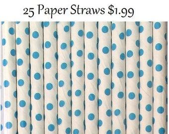 Baby Blue Swiss Dot Paper Straws