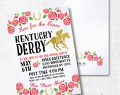 Derby horse racing party, Kentucky Derby invitation, red roses, gold horseshoe, race gala benefit auction, printable invite