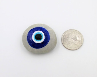 Evil Eye hand painted protection stone pocket rock