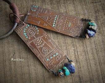 Tribal earrings-rustic earrings-ethnic earrings-bohemian earrings-copper pendant-artisan engraving-cobalt blue-turquoise-copper