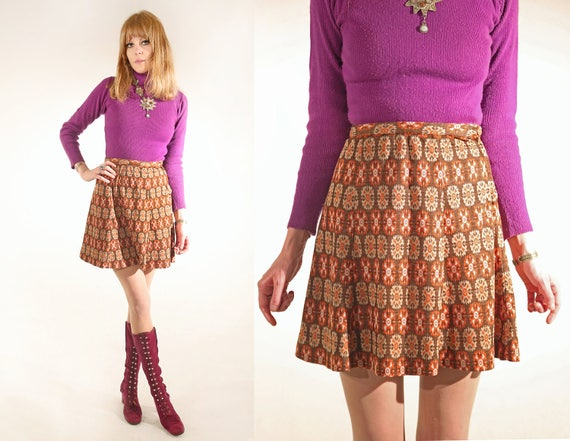 Vtg 60s Psychedelic Tapestry Mini Skirt 28