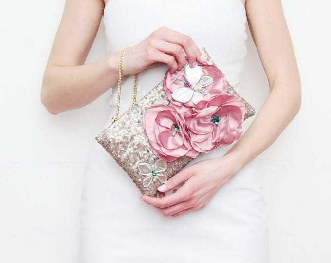 DREAM 4 /Shoulder purse-small purse-crossbody bag-sequin bag-embroidered bag-floral bag-evening bag-silver pink-leather tassel-Ready to Ship