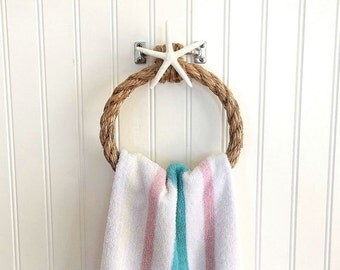 Rope Towel Holder Rustic Starfish Nautical Coastal towel holder ring wall fixture Beach Decor Bathroom Kitchen Boat stainless towel rack bar
