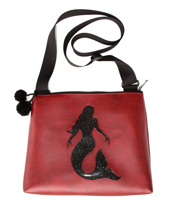 Mermaid, dark red vinyl, glitter vinyl, pom poms, vegan, vegan leather, large, cross body bag