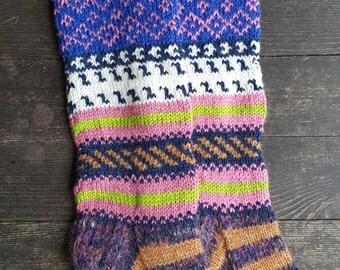 Hand Knit Colorful Socks-Womens Soks-Long Socks-Size Medium-US W7,5-8,EU39