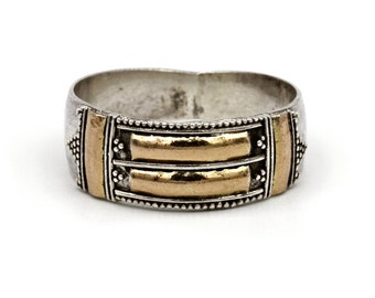 Bali Band Ring, 925 Sterling Ring, Silver & Gold Wash, Two Tone Ring, Mixed Metal Ring, Ethnic Gypsy, Indonesian Jewelry, Size 7.75, Size 8