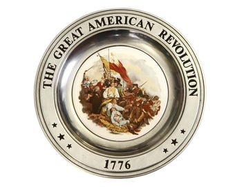 American Revolution Plate, Pewter Ceramic Plate, American History, Independence Day, American Decor, Vintage 70s Wall Decor, Commemorative