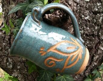 Mug, Pottery Mug, Leaf Mug