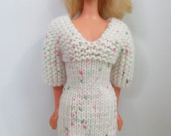 Barbie clothes - three-quarter sleeve dress, cream with pink and green
