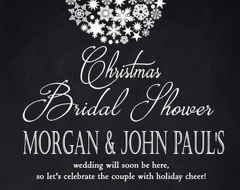 Ornament Bridal Shower invitation /  Christmas ornament design / Printable PDF / JPG /  Print at Home/ Chalkboard