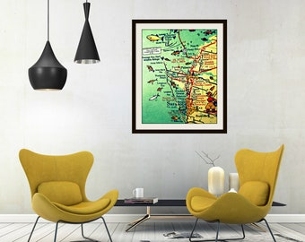Anna Maria Island Map, Florida Map Art, Anna Maria Map Wall Art, Florida Gifts for Him, Sarasota Map, Sarasota Florida Map, Illustrated Map
