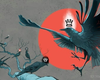 Crow King Original Art Illustration