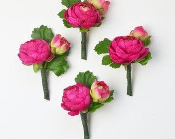 Peony Boutonniere, Silk Peony Boutonniere, Peony, Boutonniere, Hot Pink Boutonniere, Fuchsia, Pink, Ranunculus, Groom Boutonniere, Wedding
