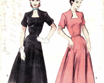 Plus Size Vintage Dress Sewing Pattern Flared Skirt Fitted Bodice Butterick 6078 Size 40 Bust 40