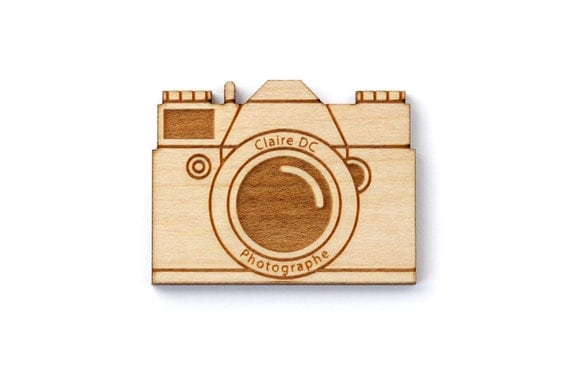 Custom camera brooch - vintage camera pin personalized with your brand, name or logo - lasercut maple wood - made to order - engraved brooch