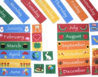 Montessori Kids Calendar - Felt Calendar, Waldorf Preschool Calendar for Kids, Felt Board Story, Days of the Week, Homeschool Curriculum