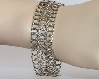 Vintage Taxco Mexico 925 Bracelet Wide Chain Link Stamped TNC Hecho En Mexico D.F.