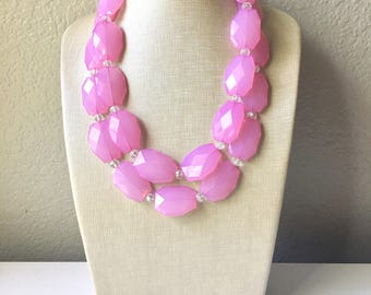 Spring Pink beaded statement chunky necklace, blush pink necklace, light pink necklace, pink bridesmaid, pink beaded necklace