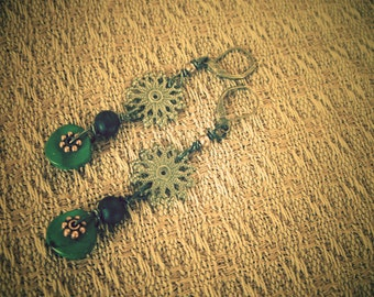 Turquoise Earrings, Dangle, Drop, Steampunk earrings, Victorian jewelry, Edwardian, Gothic jewelry, One of a Kind, Free Shipping