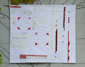 Art quilt, wall hanging quilt, wall art, textile art, white and red
