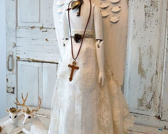 Angel cage doll statue French Santos all white figure accented rhinestones wings shabby cottage chic Nordic embellished anita spero design