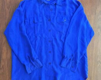 Vintage Contempo Casuals 1990's Electric Blue Silk Oxford Top - Medium