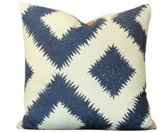 Schumacher Puka Diamond Pillow Cover in Navy