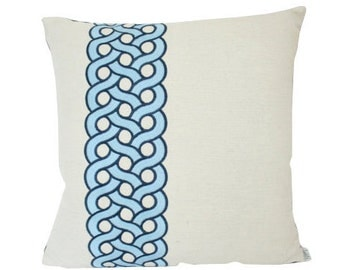 Mandeville Pillow Cover byTimothy Corrigan for Schumacher in Blue Embroidered Linen