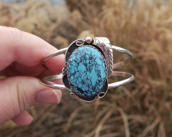 Vintage Navajo Sterling Silver Spiderweb Turquoise Bracelet