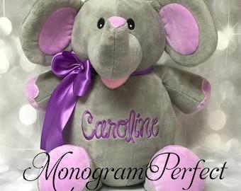 """CAROLINE - Already Personalized -  16"""" Plush Elephant Stuffed Animal"""