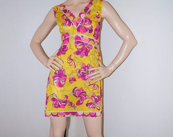 60s Emilio Pucci Babydoll Floral Yellow Slip Dress / 1960s Pucci Psychedelic Floral Mini Dress / EPFR Signed Mod Tunic Summer Sundress M L