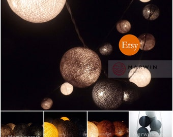 35 Fallen Earth & Grey tone Cotton Balls Fairy String Lights Party Patio Wedding Floor Table Hanging Gift Home Decor Living Bedroom Holiday