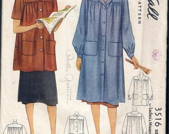 """Vintage 1939 McCall 3516 Ladies Smock Sewing Pattern Size Small Bust 34"""" - 36"""""""