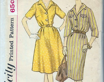 Vintage 1960's Simplicity 3758 Half Size Slenderette One-Piece Shirt Dress With Two Skirts Sewing Pattern Size 16 1/2 Bust 37""