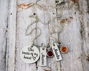 Mother's Necklace - The Beats Of My Heart - Custom - Personalized - Name - Birthstone - Gift For Mom
