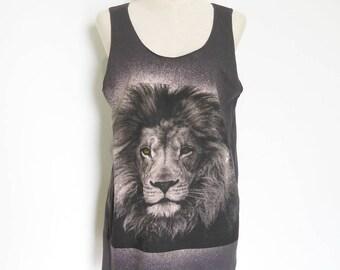 Lion Tank Top Lion Shirt Women T-Shirt Men Shirt Lion T-Shirt Graphic tees workout tee fashion tank unisex tank top Screen Print Size M