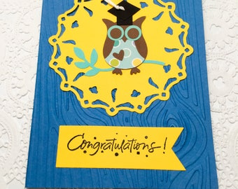 Hand made cards: Congratulations - owl Graduation card - Hugs - Reach for the stars - white - black - red - handmade card - Wcards