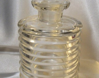 Vintage 1920's Rare Czech CRYSTAL bottle with CRYSTAL STOPPER New Old Stock