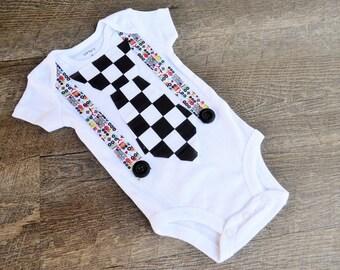 Tie Onesie with Suspenders- Car Tie Onesie-  Boy Onesie- Baby Onesie- Boy Baby Shower Gift- Little Man