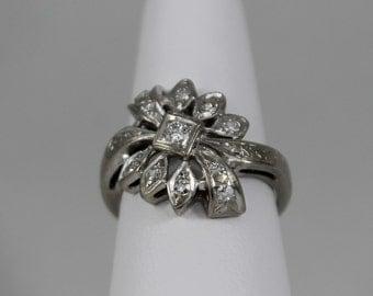14K White Gold Diamond Flower Ring (SOLD)