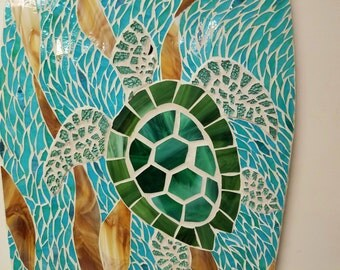 Sea Turtle Surfboard Art, Stained Glass Mosaic Sea Turtles Swimming in Sea Grasses, Beach House Art, Stained glass on wood