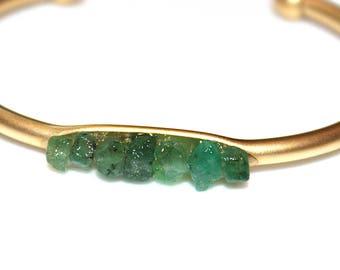 Raw Emerald Cuff Raw Stone Cuff Sapphire Bracelet Raw Emerald Bracelet Boho Bracelet Boho Cuff Stacking Bangle May Birthstone Green Cuff
